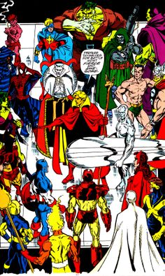 """the world's Mightiest Heroes & Doctor Doom (from Infinity Gauntlet #3 - September 1991) by George Perez - Prepare thyselves for battle most fierce and awesome."""""""