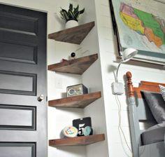 Diy shelves easy diy floating shelves for bathroom,bedroom,kitchen,closet. Diy Corner Shelf, Corner Wall Shelves, Wall Shelves Design, Book Shelves, Open Shelves, Home Decor Shelves, Shelves In Bedroom, Closet Shelves, Diy Home Decor Bedroom