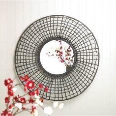 Rattan Design Round Wall Mirror
