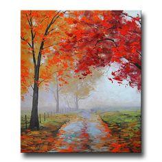 Pintura al óleo realista caída impresionismo árboles Misty Road Art Deco