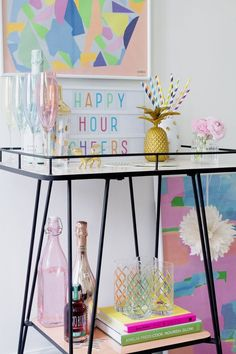 How to style a bar cart or bar trolley that is full of fun and colour. Here& how to style an Oliver Bonas bar trolley that I have had fun doing. Diy Bar Cart, Gold Bar Cart, Bar Cart Styling, Bar Cart Decor, Bar Trolley, Drinks Trolley, Bar Carts, Cocktail Trolley, Mini Bars
