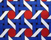 60s Fabric Vintage Mid Century Geometric Op Art Cotton remnant