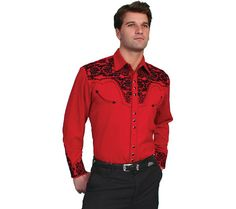 Scully Western Mens Red Polyester L/S Big Tooled Floral Western Shirt Western Show Shirts, Rodeo Shirts, Cowboys Shirt, Western Outfits, Western Wear, Western Style, Western Dresses, Western Cowboy, Vintage Shirts