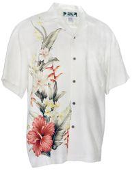 Royal Hibiscus - Tropical Print Hawaiian Aloha Shirt- Off White/Cream