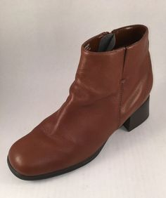 A J Valencia Boot 8M Leather Stacked Heel #AJValencia #AnkleBoots #WeartoWork