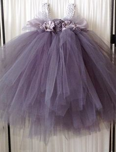 Gray Tulle Flower Girl Dress size 24months by LaceyPerleDesigns, $65.00