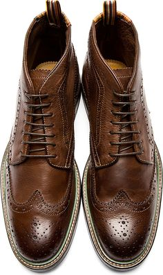 Ps By Paul Smith: Brown Brogue Grayson Boots