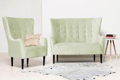 Canapea Fixa 2 locuri Blair Green Mint #homedecor #inspiration #interiordesign #pastel #green Pastel, Love Seat, Accent Chairs, Couch, Interior Design, Green, Inspiration, Furniture, Home Decor