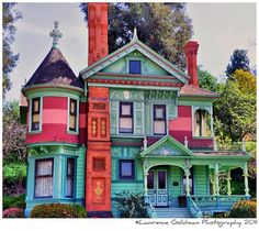 Hale House, a Queen Ann Style built in 1887.Original location in the Highland Park Section of Northeast Los Angeles, California. In 1970 it was relocated to Heritage Square Museum in Montecito Heights.