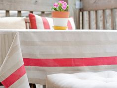 Monday's Make-it …{DIY cooool stripe tablecloth} | Ada's Interior Design- can also use technique for curtains.