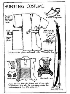 Medieval pattern of hunting costume