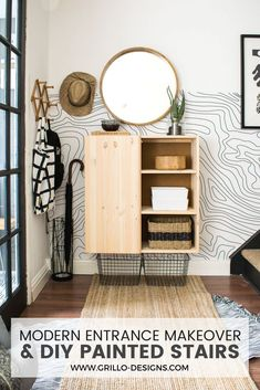 Home Decor – Entryway :     Modern scandi style entrance and stairs makeover with CarpetRight. Carpet on stairs only and painted risers / Grillo Designs    -Read More –