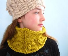 Yellow  Cowl Handknit with Chunky Cables Custom by KerreraSkye, $39.00