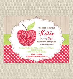 Good Apple Template For Invites Or The Table Seating List Theme Parties
