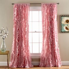 Lush Decor Belle Window Curtain Panel, 84 x Pink: Flowing hand crafted vertical ruffles turn the ordinary into a beautiful window. The fabric is so soft and lays down beautifully from top to bottom.