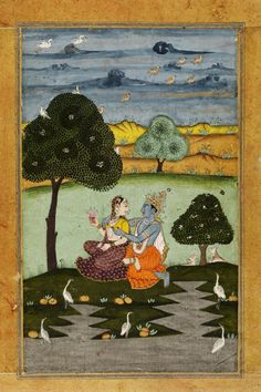 Radha and Krishna in a wooded landscape, opaque watercolour and gold on paper, early 19th century, India, probably Rajasthan.