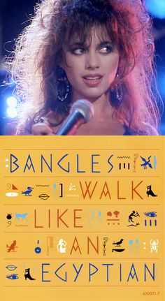"The Bangles' Susanna Hoffs & the cover art for ""Walk Like an Egyptian"" (1986)"