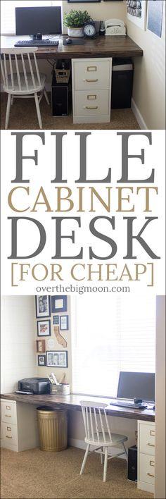 DIY File Cabinet Desk Tutorial - Over the Big Moon