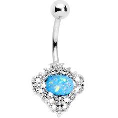Aqua Faux Opal Regally Flowered Frame Belly Ring
