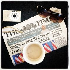 London style; The Times, coffee, camera