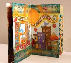 visual art journal ideas | Cheers to a New Day! Mixed Media Journal Pages