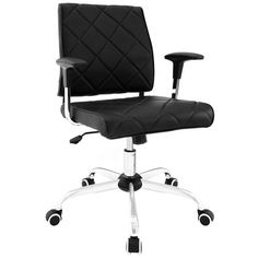 Buy Modway Lattice Vinyl Office Chair in Black EEI-1247-BLK online. Best price. Free Shipping on all orders over $49. Beach Chair With Canopy, Office Furniture, Modern Furniture, Office Environment, Occasional Chairs, Polished Chrome, Frame, Black, Style