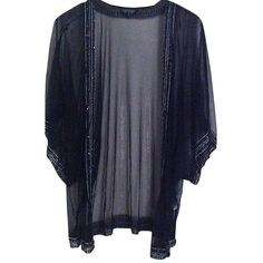 Pre-owned Topshop Sheer Sequin Kimono Coverup Cardigan ($80) ❤ liked on Polyvore featuring tops, cardigans, sweaters, jackets, outerwear, black, sequin cardigan, topshop kimono, topshop tops and transparent tops