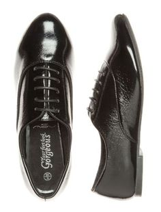 black patent brogues. work shoes.