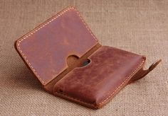 For iPhone 5 Leather Wallet Leather iPhone Case by BunnysGoods