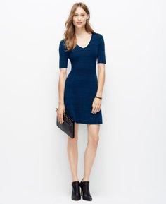 11d8722eb9c  139 Ann Taylor Navy Blue Fit   Flare Ottoman Vneck Sweater Dress Petite  Dresses