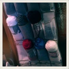Yarn Holder. Very smart! OMG how did I not think of this....
