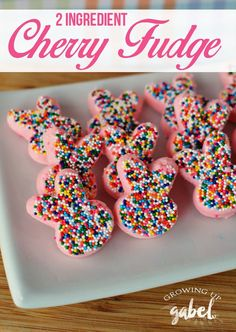 Easy 2 ingredient fudge recipe is made with cherry frosting and white chocolate!  Just melt, stir, and pour. Make in to little bunnies using a silicone mold for homemade Easter candy!  via @camillegabel