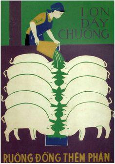 More Livestock, More Manure: Que Binh, Vietnam, Propaganda Art, Communist Propaganda, Protest Posters, Japanese Prints, Grafik Design, Vintage Posters, Illustrations Posters, Art Inspo, Graphic Art