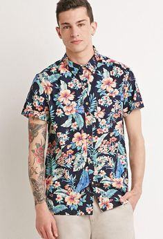 813d3a29c Lyst - Forever 21 Tropical Print Shirt in Blue for Men Forever 21 Shirts, 21