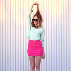 mint and hot pink