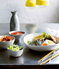 Korean buckwheat noodles with beef and nashi pear - Gourmet Traveller