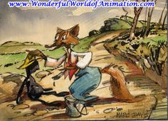 Original Marc Davis concept drawing of Brer Fox and Tar Baby from Disney Studios' Song of the South (1946)