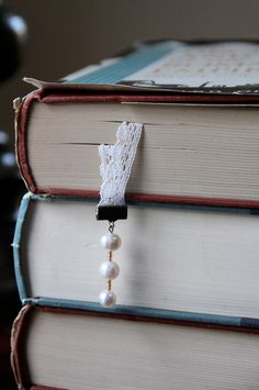 Double Bookmark - Vintage Lace and Freshwater Pearl - Gift Ideas