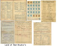 WW I Free Printable Images - marriage records, payroll documents, stamps - awesome