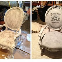 We painted the outdated upholstery on these antique chairs with a mixt… :: Hometalk