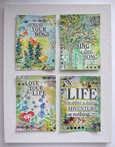 Hi everyone! Guest Designer Daniela Dobson here, and I created a set of ATC cards using my Favorite Faber-Castell Design Memory Craft® products. 1. Using Art GRIP® Aquarelles: Green (168), Yellow (105), and Blue (147, 143), color on the watercolor paper and add water. 2.Stamp flowers using Stamper's Big Brush...