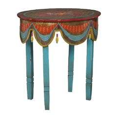 Multi-Color Painted Accent Table