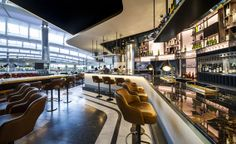 #Bar of #Heston's new restaurant at #Heathrow T2. The Perfectionist's Cafe, designed by #AfroditiKrassa #HospitalityDesign