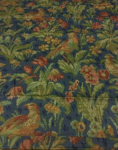 Schumacher Greeff Canterbury Hill Classic English Tapestry Style Multi-Purpose Cotton Print Fabric - 2.75 Yds on Chairish.com Navy Fabric, Textile Fabrics, To Color, Canterbury, Schumacher, Blue Backgrounds, Printing On Fabric, Deer, Purpose