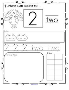THANKSGIVING Theme Number Practice Pages 1-20. Recognize, read, count, trace, draw, fill 10-frame. 22 pages. $