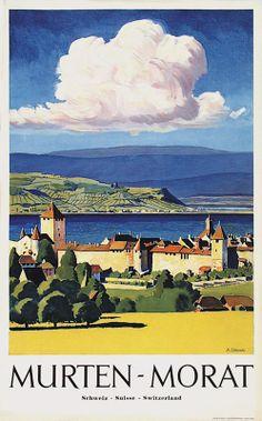 Fribourg Murten Morat Plinio Colombi Vintage Travel Decor, Vintage Travel Posters, Armin, Swiss Travel, Tourism Poster, Travel Expert, Art Graphique, Creative Art, Places To Visit