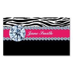 Jeweler Jewelry Zebra Print Diamond Sparkle Business Card Templates. This great business card design is available for customization. All text style, colors, sizes can be modified to fit your needs. Just click the image to learn more!