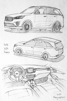 Car drawing 160117. 2015 Kia Sorento. Prisma on paper.  Kim.J.H