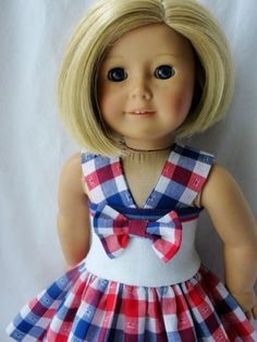 American Girl Doll Dress  Red Blue & White by DollClothesByJane, $19.95