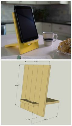 awesome DIY iPad/Tablet Stand :: Find the FREE PLANS for this project and many others at.Woodworking - The Proper Safety Gear For Your Woodworking Project - DIY Woodworking IdeasDIY iPad/Tablet Stand For Rachel when she uses her tablet for recipes/co Small Wood Projects, Cool Woodworking Projects, Woodworking Tips, Woodworking School, Woodworking Joints, Popular Woodworking, Woodworking Furniture, Diy Phone Stand, Tablet Stand